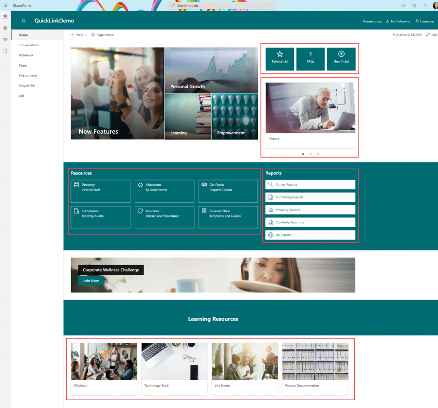 SharePoint page example with quick links