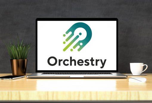 Orchestry logo on laptop